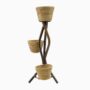 Italian Bamboo and Rattan Plant Holder, 1950s