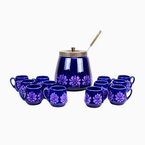 Set da punch in ceramica di Schramberg Keramik, anni '70, set di 12