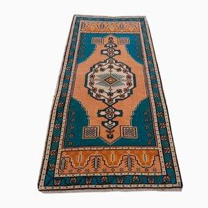 Alfombra Oushak turca vintage geométrica, años 70