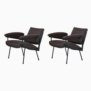 Italian Steel & Wool Armchairs, 1950s, Set of 2