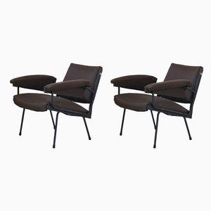 Italienische Sessel aus Stahl & Wolle, 1950er, 2er Set