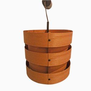 Lampada da soffitto in legno di Zicoli, anni '60