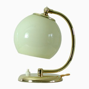 Art Deco Brass & Opal Table Lamp, 1930s