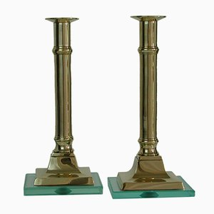 Brass & Glass Candleholders, 1950s, Set of 2
