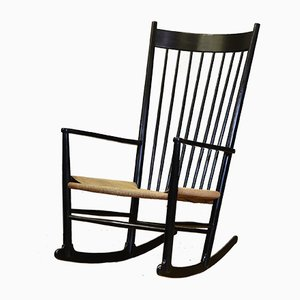 Danish Model J16 Ebonized Beech Rocking Chair by Hans J. Wegner for FDB, 1969