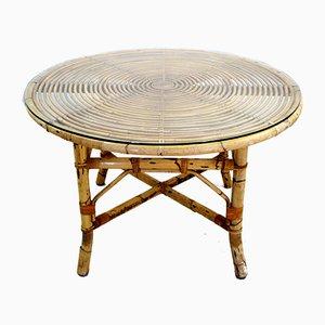 Table d'Appoint en Bambou et Verre, Italie, 1960s