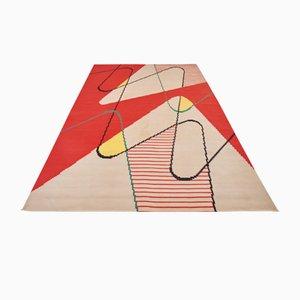 Tappeto grande Kilim geometrico di Antonin Kybal, 1958