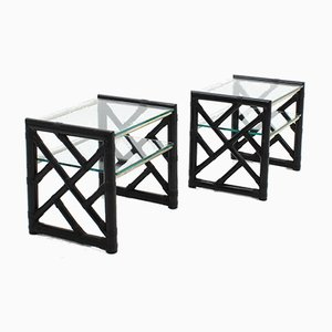 Vintage Lacquered Rattan and Glass Nightstands, Set of 2