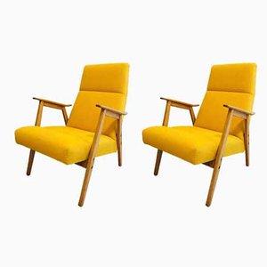 Gelbe Sessel von Interier Praha, 1960er, 2er Set