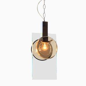 Lámpara colgante italiana de vidrio de Fontana Arte, años 70