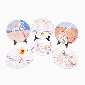 Conquest of The Cosmos Dishes by Salvador Dali for Limoges, 1974, Set of 6