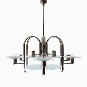 Frosted Glass & Chrome Plated Chandelier, 1930s