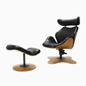 Lounge Chair and Ottoman by Toshiyuki Kita for Stokke, 2000s, Set of 2