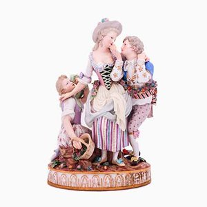 Antique The Decisive Choice Sculpture by Johann Carl Schönheit for Meissen
