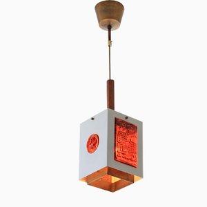Brass & Glass Pendant Lamp by Erik Höglund for Boda Glasbruk, 1960s