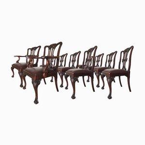 Antike Chippendale Esszimmerstühle aus Mahagoni mit Klauenfüßen, 10er Set