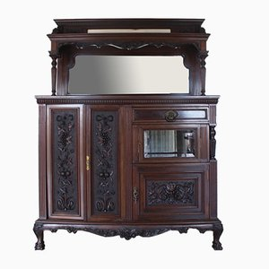 Antique Chippendale Ball and Claw Mahogany Marble Buffet