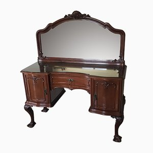 Antique Chippendale Ball and Claw Mahogany Mirrored Dressing Table