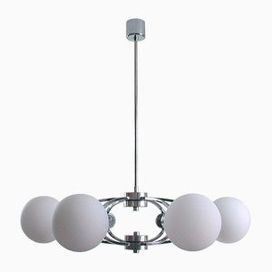 Mid-Century Space Age Chrome and Opaline Ceiling Lamp