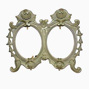 Specchio doppio con cornice in ottone, anni '40