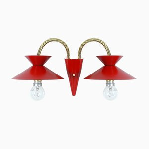 French Red and Brass Double Gooseneck Sconce, 1950s