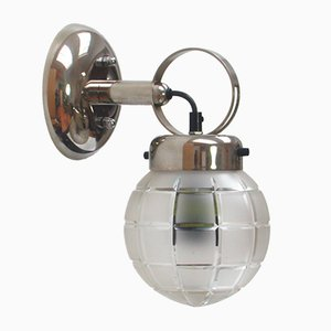 German Chrome and Glass Wall Light, 1950s
