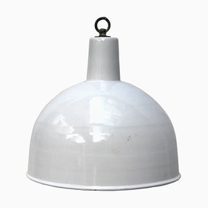 Lampe à Suspension en Émail Blanc, 1950s