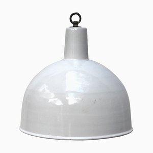 White Enamel Pendant Lamp, 1950s