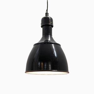 Lampe à Suspension Industrielle en Émail Noir, 1950s