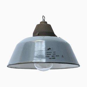Lampe à Suspension en Verre Transparent, Émail Bleu Gris et Fonte, 1950s