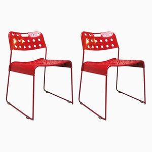 Chaises de Salle à Manger Rouges par Rodney Kinsman pour Bieffeplast, 1972, Set de 2