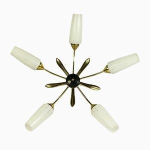 Deckenlampe aus Glas & Messing, 1950er