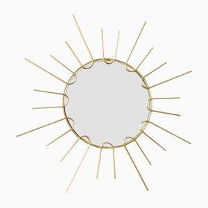 Espejo en forma de sol de metal, años 60