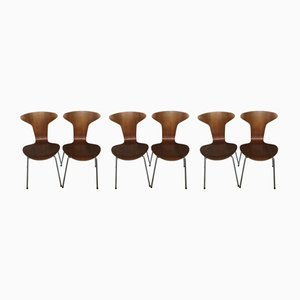 3105 Dining Chairs by Arne Jacobsen for Fritz Hansen, 1950s, Set of 6