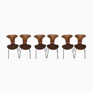 3105 Esszimmerstühle von Arne Jacobsen für Fritz Hansen, 1950er, 6er Set