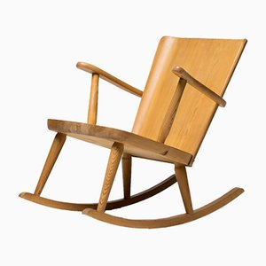 Scandinavian Pinewood Rocking Chair by Goran Malmvall for Svensk Fur, 1950s