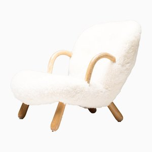 Danish Model Clam Lounge Chair by Philip Arctander, 1940s