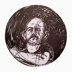 Self-Portrait in a Convex Mirror Woodcut by Jim Dine, 1980s