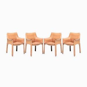 Chaises de Salle à Manger en Cuir par Mario Bellini pour Cassina, 1970s, Set de 4