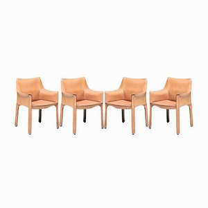 Leather Dining Chairs by Mario Bellini for Cassina, 1970s, Set of 4