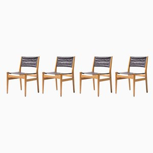 Skandinavische Sling Esszimmerstühle mit Ledersitzen, 1960er, 4er Set