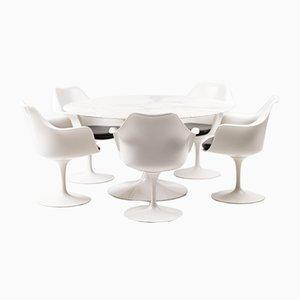 Set aus Esstisch mit Marmorplatte & Stühlen von Eero Saarinen für Knoll Inc. / Knoll International, 1950er