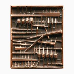 Bronzetafel von Arnaldo Pomodoro für Tecno, 1970er