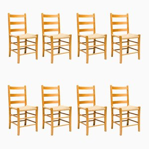 Swedish Black Dining Chairs, 1960s, Set of 8