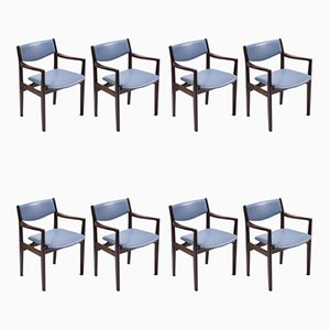 Esszimmerstühle aus Mahagoni & Leder von Godtfred Petersen, 1960er, 8er Set