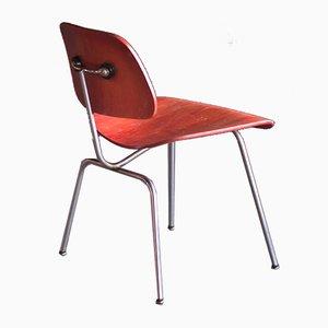Beistellstuhl aus rotem Anilinleder von Charles Eames, 1950er