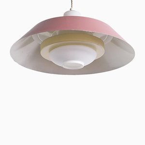 Lampe à Suspension en Verre Givré par Louis Christiaan Kalff, années 50