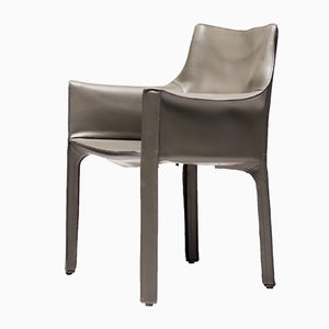Army Green Leather Dining Chair by Mario Bellini for Cassina, 1970s