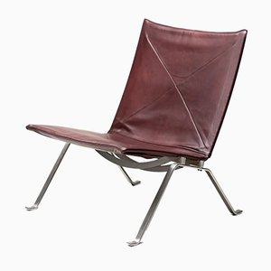 Mid-Century Oxblood Leather PK22 Lounge Chair by Poul Kjærholm