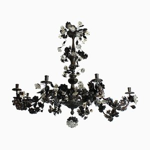 Bronzed Flower and Leaves Chandelier, 1950s